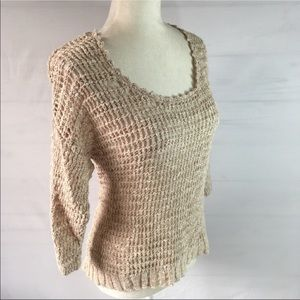Lucky Brand beige crochet linen cotton sweater